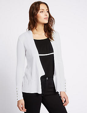 Ribbed Open Front Cardigan, SOFT WHITE, catlanding