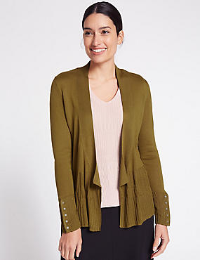 Ribbed Open Front Cardigan, CHARTREUSE, catlanding