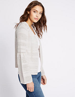 Open Front Lace Stitch Cardigan, NUDE PINK, catlanding