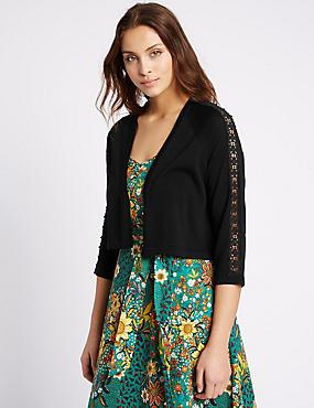 Lace 3/4 Sleeve Cardigan, BLACK, catlanding