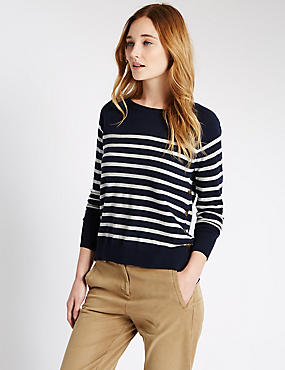 Striped Jumper, NAVY MIX, catlanding