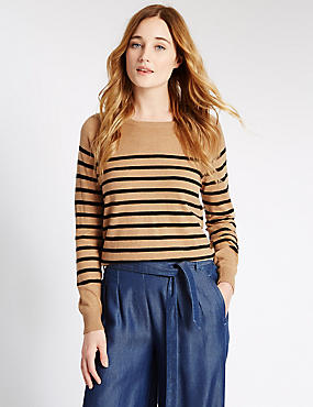 Striped Jumper, CAMEL MIX, catlanding