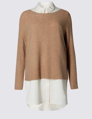 Двуслойный джемпер с воротником-рубашкой от Marks & Spencer