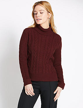 PETITE Cropped Cable Knit Jumper, CLARET, catlanding