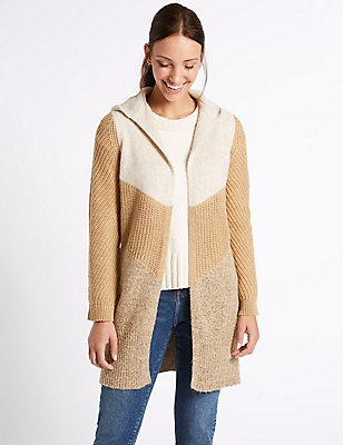 Colour Block Cardigan, CAMEL MIX, catlanding