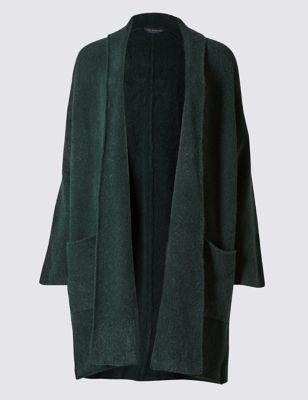 Пальто-кардиган оверсайз с добавлением стретчевого волокна M&S Collection T386618