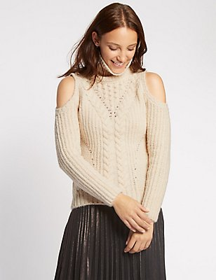 Cold Shoulder Cable Knit Jumper, CREAM, catlanding
