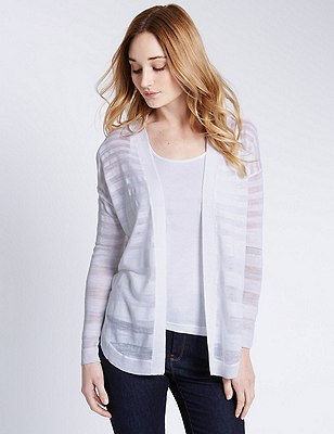 Self Striped Cardigan with Linen, SOFT WHITE, catlanding