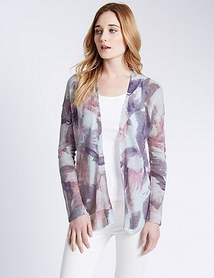 Water Floral Open Front Cardigan with Linen, PINK MIX, catlanding