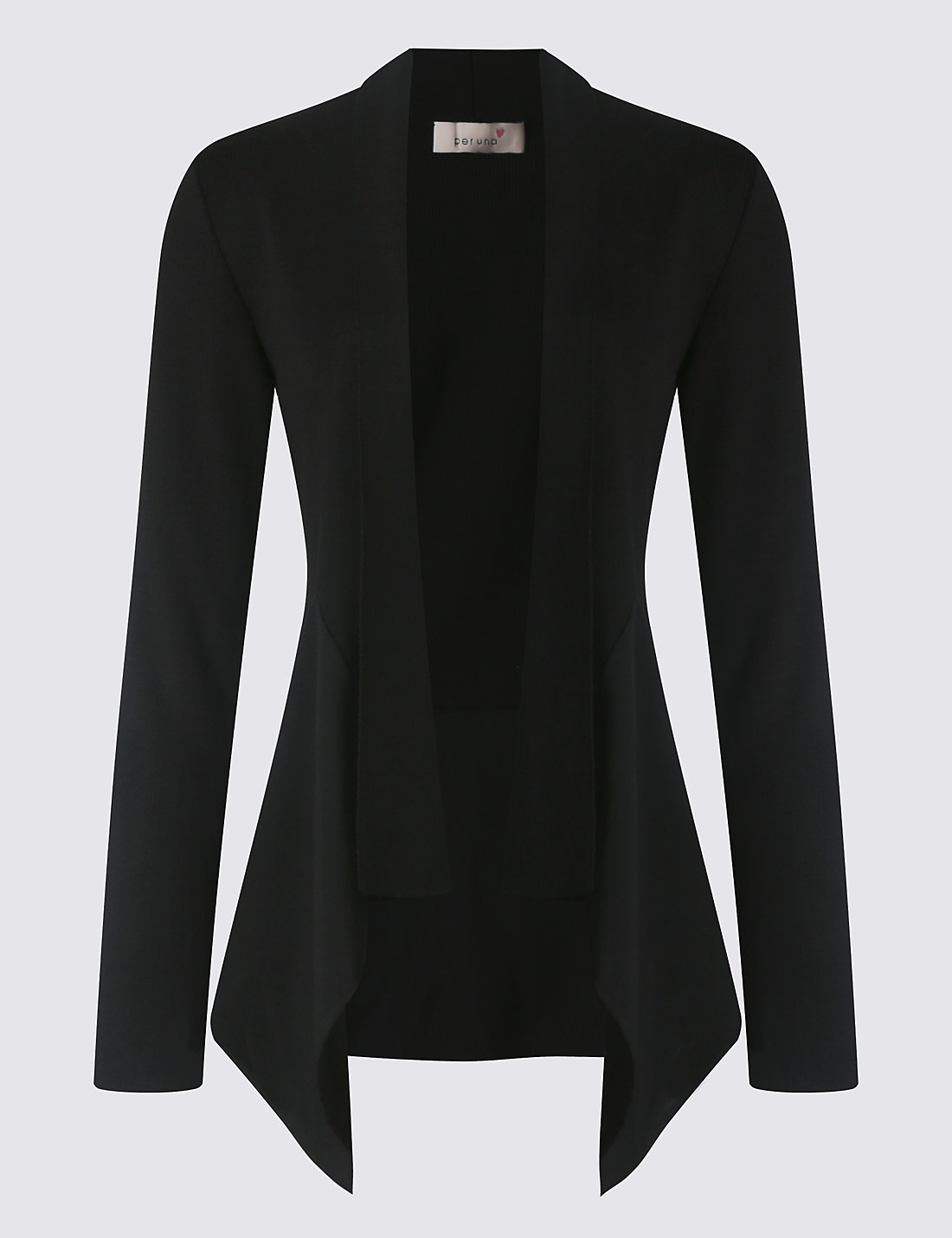Black t shirt back and front plain - Open Front Waterfall Cardigan