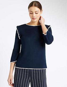 Ruffle Tipped Jumper, NAVY MIX, catlanding