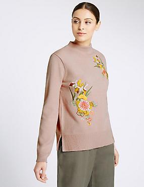 Embroidered Turtle Neck Jumper, DUSTED PINK, catlanding