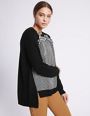 Cotton Blend Tassel Beaded Jumper, BLACK, catlanding