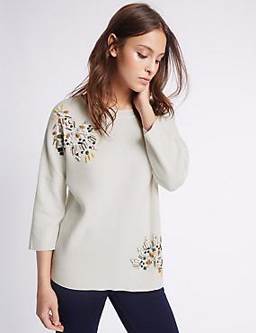 Pure Cotton Embellished 3/4 Sleeve Jumper, IVORY, catlanding
