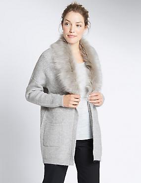 Faux Fur 2 Pocket Cardigan, SILVER GREY, catlanding