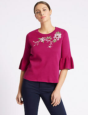 Pure Cotton Embroidered Round Neck Jumper, FUCHSIA, catlanding