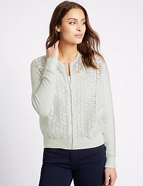 Pure Cotton Lace Front Cardigan, IVORY, catlanding
