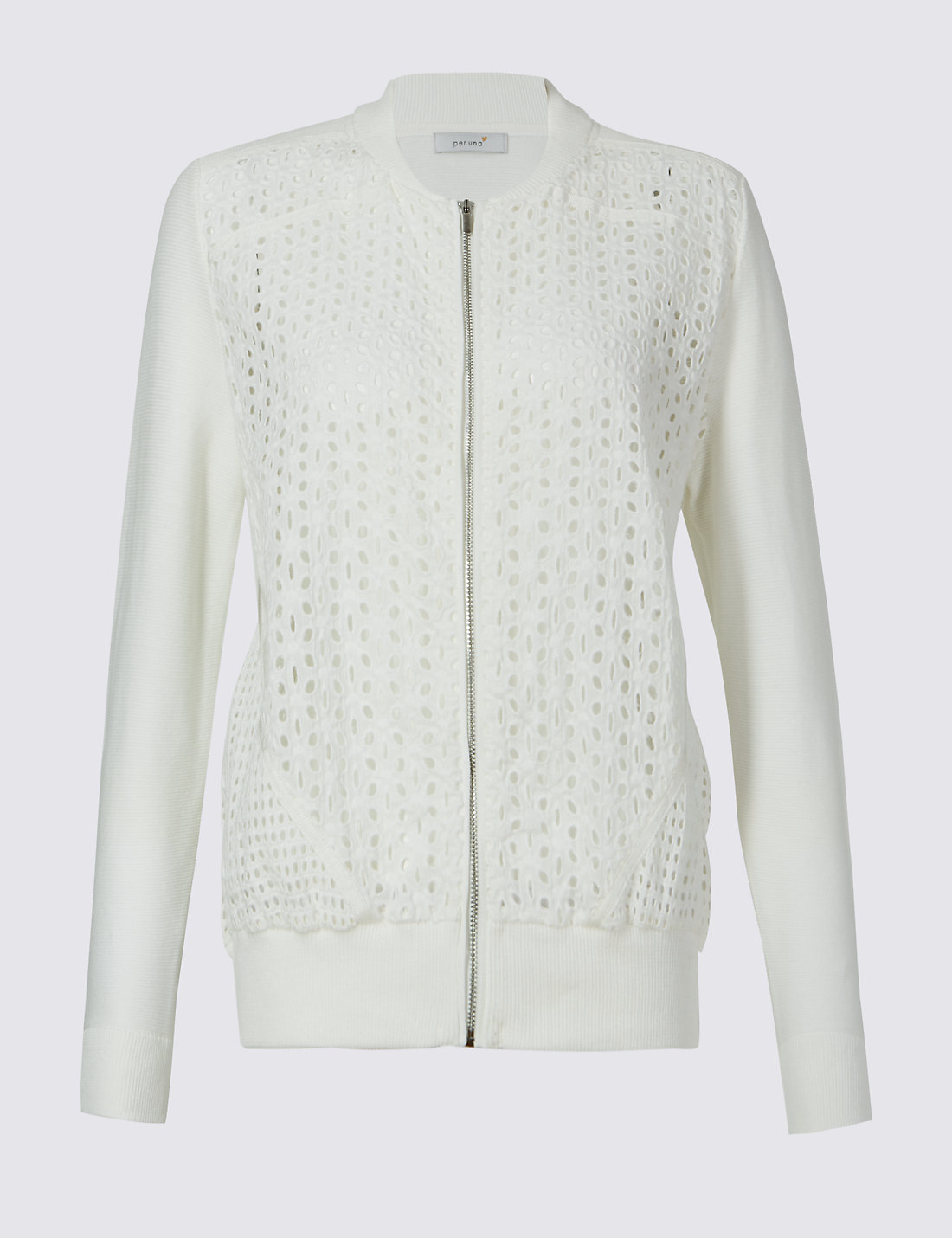 Pure Cotton Lace Front Bomber Cardigan | M&S