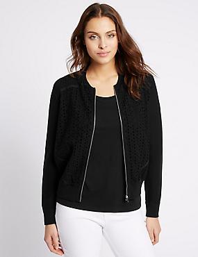 Pure Cotton Lace Front Cardigan, BLACK, catlanding