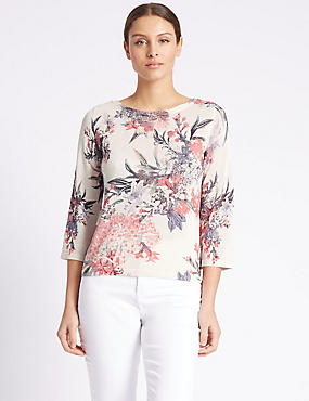 Floral Print Round Neck 3/4 Sleeve Jumper, IVORY MIX, catlanding