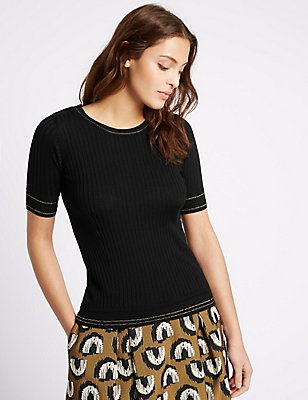 Contrasting Edge Half Sleeve Jumpers, BLACK, catlanding