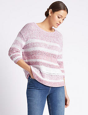 Cotton Blend Striped Round Neck Jumper, PINK MIX, catlanding