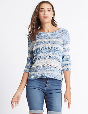 Cotton Blend Striped Round Neck Jumper, MEDIUM BLUE MIX, catlanding