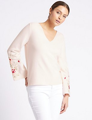 Pure Cotton V-Neck Flared Sleeve Jumper, SOFT PINK, catlanding