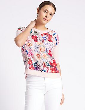 Floral Print Round Neck Half Sleeve Jumper, PINK MIX, catlanding