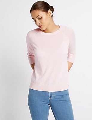 Pure Cotton Ribbed Round Neck Jumper, POWDER PINK, catlanding