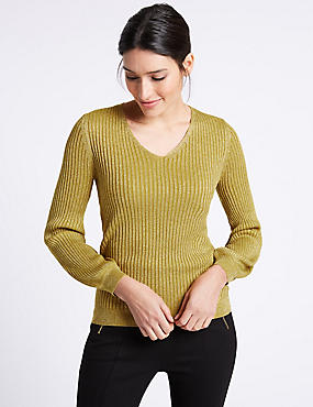 Ribbed Tie Back V-Neck Bubble Sleeve Jumper, OCHRE, catlanding