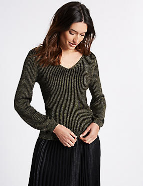 Ribbed Tie Back V-Neck Bubble Sleeve Jumper, BLACK MIX, catlanding