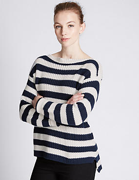 Pure Cotton Chunky Knit Striped Jumper