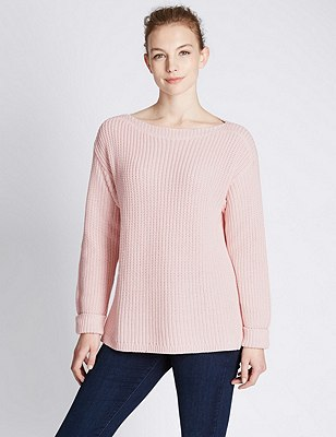 Pure Cotton Oversized & Loose Chunky Knit Jumper, SOFT PINK, catlanding