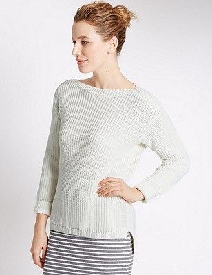 Pure Cotton Oversized & Loose Chunky Knit Jumper, VANILLA, catlanding