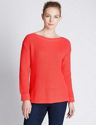 Pure Cotton Oversized & Loose Chunky Knit Jumper, SUN GLOW, catlanding