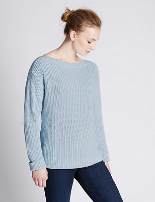 Pure Cotton Oversized & Loose Chunky Knit Jumper, PALE BLUE, catlanding