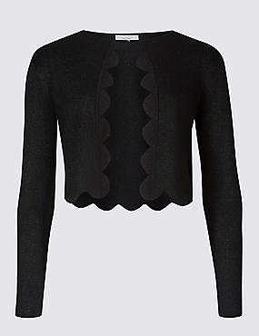 Scallop Trim Long Sleeve Cardigan, BLACK, catlanding
