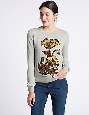 Pure Cotton Embellished Round Neck Jumper, GREY MIX, catlanding