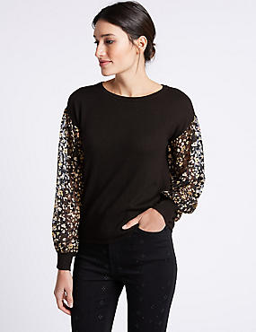 Round Neck Balloon Sleeve Jumper, BLACK MIX, catlanding