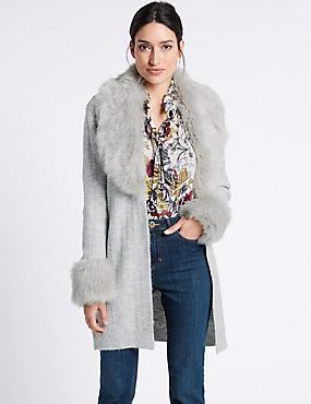 Open Front Fur Coatigan, GREY, catlanding
