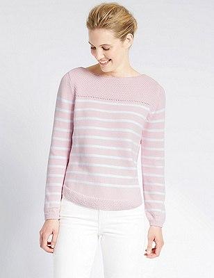 Pure Cotton Stitch Yoke Striped Jumper, PINK MIX, catlanding