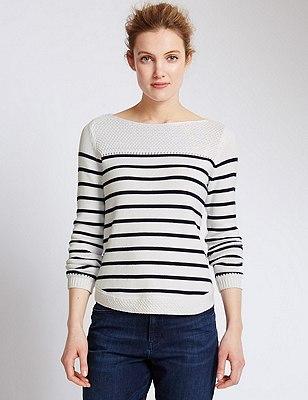 Pure Cotton Stitch Yoke Striped Jumper, WHITE MIX, catlanding