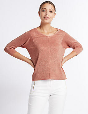 Window Back V-Neck 3/4 Sleeve Jumper, COPPER ROSE, catlanding