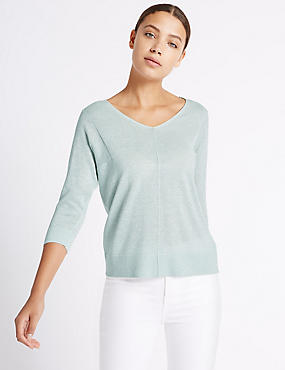 Window Back V-Neck 3/4 Sleeve Jumper, MINT, catlanding