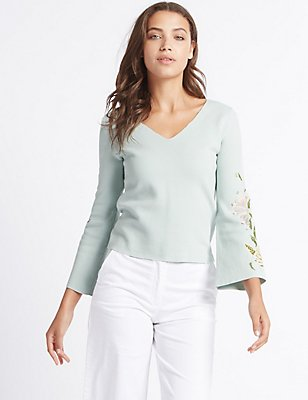 Pure Cotton Embroidered Flare Sleeve Jumper, MINT, catlanding