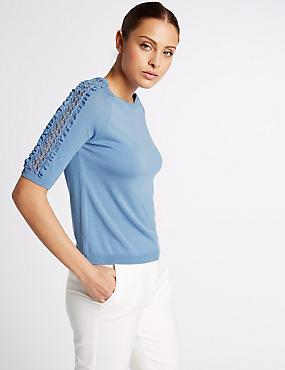 Lace Applique Round Neck Half Sleeve Jumper, LIGHT BLUE, catlanding