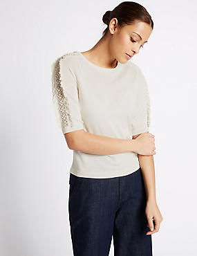 Lace Applique Round Neck Half Sleeve Jumper, IVORY, catlanding