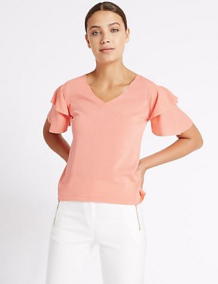 V-Neck Angel Sleeve Jumper , CORAL, catlanding