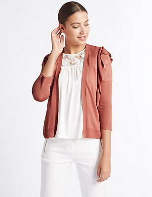 Ruffle 3/4 Sleeve Cardigan , COPPER ROSE, catlanding